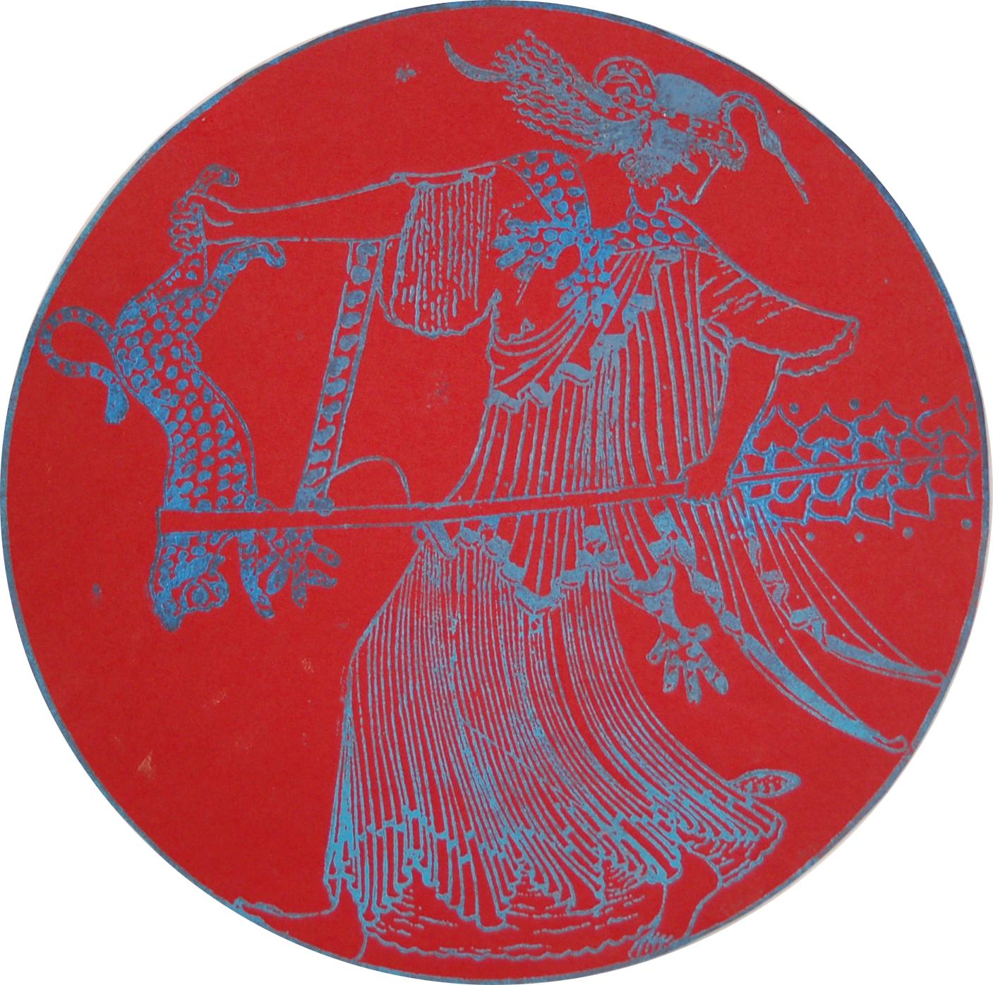 Nancy Spero, Maenad Circle (Krąg bachantek), grafika na papierze, średnica 35 cm, 2003, dzięki uprzejmości Christine König Galerie