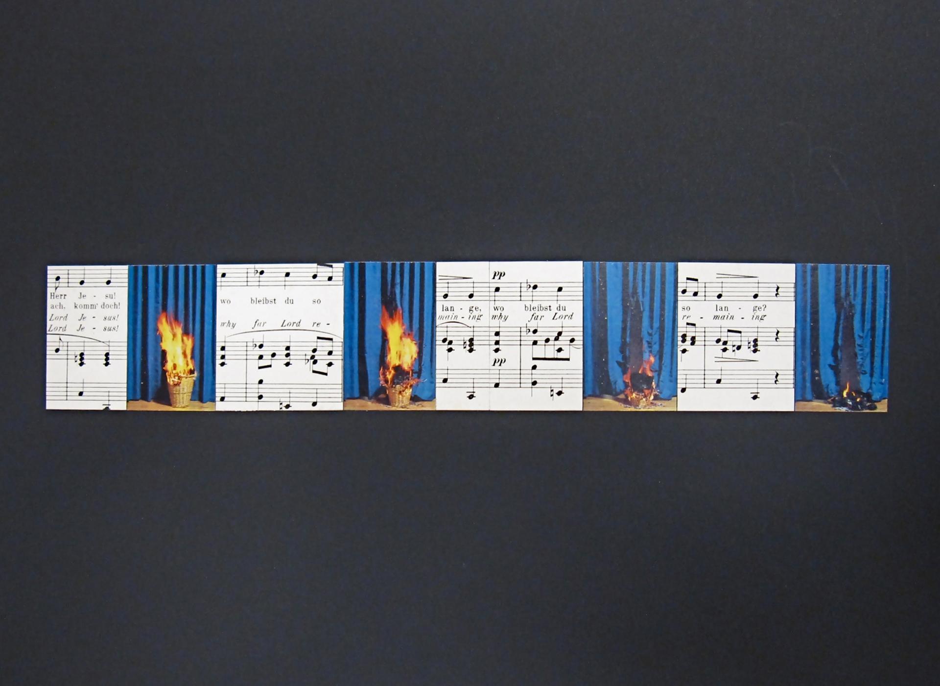 Gerhard Rühm, Bez tytułu, kolaż na czarnym kartonie, 30 x 40 cm, from the series geistliche gesänge, 1994, dzięki uprzejmości Christine König Galerie