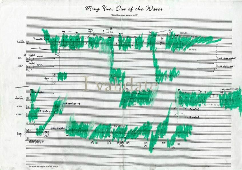 Samson Young, To Fanon (Out of the water, out of itself) (Dla Fanona (Z wody, z siebie)), pastele, ołówek, ksero, grafika na papierze, 30 x 42 cm, 2016, dzięki uprzejmości artysty i Experimenter