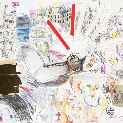 """Edward Dwurnik, """"Czołgi, gaz i długie pałki"""", 1981, z kolekcji Muzeum Sztuki w Łodzi: Na środku niewyraźna postać w hełmie bije pałką osobę o przerażonym wyrazie twarzy.  Po lewo postacie rozmawiają ze sobą, jedna wskazuje palcem na serce drugiej. W tle są pomniki z gwiazdami i flagami. W lewym dolnym rogu znajduje się czarna głowa w czapce, z której ust"""
