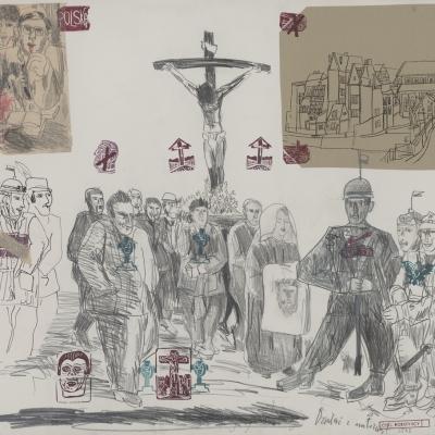 """Edward Dwurnik, """"Działać z miłością"""", 1981, z kolekcji Muzeum Sztuki w Łodzi: Na obrazie znajduje się pięć rozmazanych, niewyraźnych twarzy. Pierwsza w lewym górnym rogu ma hełm żołnierski, czerwona twarz w lewym dolnym rogu zaciska oczy i zęby. W prawym dolnym rogu fioletowa twarz ma na głowie rogi, żółta twarz w prawym górnym rogu krzyczy i rozmazuje się. Po prawo ciemnofioletowa twarz jest ujęta z profilu i również rozmazuje się."""