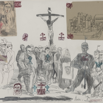 """Edward Dwurnik, """"To Act with Love"""", 1981, from the collection of Muzeum Sztuki in Łódź: Jesus is hanging on the cross, people are walking under him with Mary, who is holding a scarf with the face of Jesus. On the left, members of"""