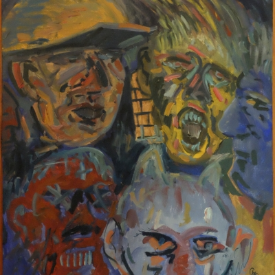 """Edward Dwurnik, """"Drunk Heads"""", 1984, donation of Prof. Roman Zarzycki, from the collection of Muzeum Sztuki in Łódź: There are five blurry faces. The first one, in the upper left corner, has a soldier's helmet, the red face, in the lower left corner, is clenching his eyes and teeth. In the lower right corner, the purple face has horns on its head, the yellow face, in the upper right corner, is screaming. To the right, the dark purple face, also blurry, is framed in profile."""