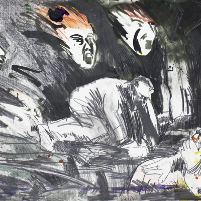 """Edward Dwurnik, """"Pijany Gierek"""", 1985, z kolekcji Muzeum Sztuki w Łodzi: W prawym dolnym rogu niewyraźna postać męska leży i trzyma butelkę. Obok niej osoba klęczy i prawdopodobnie wymiotuje. Nad nimi zawieszone są rozmazane, krzyczące twarze."""