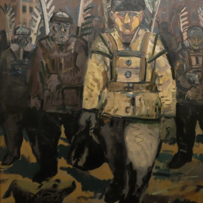 """Edward Dwurnik, """"The Romantics"""", 1984, donation of Prof. Roman Zarzycki, from the collection of Muzeum Sztuki in Łódź: Four soldiers with hussar wings are walking down the street. An animal, possibly a dog, is looking at them."""