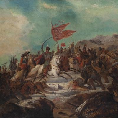 """Henryk Pillati, """"Scena batalistyczna"""", 1860, z kolekcji Muzeum Sztuki w Łodzi: Armia na polu bitwy konno przemieszcza się w górę. Przywódca wskazuje szablą w górę, obok niego powiewa czerwona, poszarpana flaga, prawdopodobnie z orłem."""