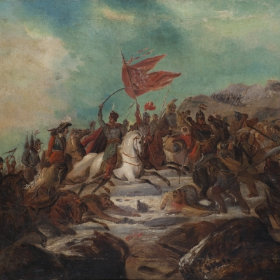 """Henryk Pillati, """"Battle Scene"""", 1860, from the collection of Muzeum Sztuki in Łódź: The army on the battlefield is moving up on horseback. The leader is pointing his saber up, and a tattered red flag, probably with an eagle, is fluttering beside him."""