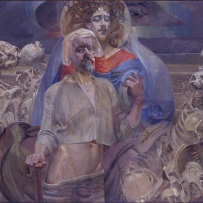 """Jacek Malczewski, """"Scena symboliczna"""", 1919, z kolekcji Muzeum Sztuki w Łodzi: Jezus w niebiesko-czerwonych szatach i koronie cierniowej trzyma za głowę, w geście namaszczenia, głowę łysego mężczyzny, który stoi o lasce. W tle leżą szkielety."""