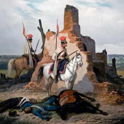 """January Suchodolski, """"Battle Scene"""", 1868, from the collection of Muzeum Sztuki in Łódź: Two soldiers on horseback are hiding behind a ruined building. On the ground, the corpses of people and a horse are lying. In the background, a battle is taking place: soldiers of one army are running against the others."""