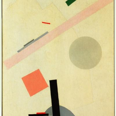 """Kazimierz Malewicz, """"Obraz suprematystyczny"""", 1916-17, olej na płótnie, dzięki uprzejmości Museum of Modern Art, Nowy Jork: Na jasnobeżowym tle znajdują się kolorowe figury geometryczne."""