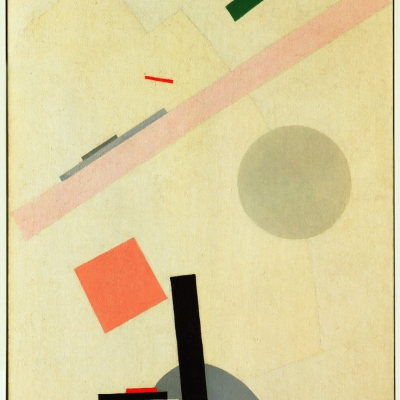 """Kazimir Malevich, """"Suprematist Painting"""", 1916-17, oil on canvas, courtesy of Museum of Modern Art (MoMA), New York: The background is light-beige. There are geometrical, colorful figures on it."""