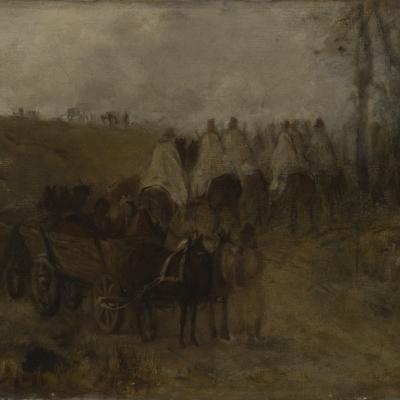 """Maksymilian Gierymski, """"Pochód ułanów polskich w 1830"""", ok. 1869, z kolekcji Muzeum Sztuki w Łodzi: Niewyraźne, zlewające się z tłem postacie jadą konno. Za nimi znajduje się wóz, również zaprzężony w konie."""