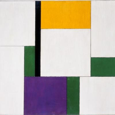 Georges Vantongerloo, Kompozycja trzech równoważników (Composition émanante du triangle équilatéral /Kompozycja wywodząca się z trójkąta równobocznego), 1921, olej, deska, 48  × 56,5 cm, Muzeum Sztuki, Łódź