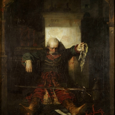 """Wandalin Strzałecki, """"Ostatni klucznik Horeszkowa"""", 1882, z kolekcji Muzeum Sztuki w Łodzi: Starszy, osłabiony mężczyzna opiera się o ścianę. Na jego nogach leży duży miecz. W lewej ręce trzyma on klucze."""