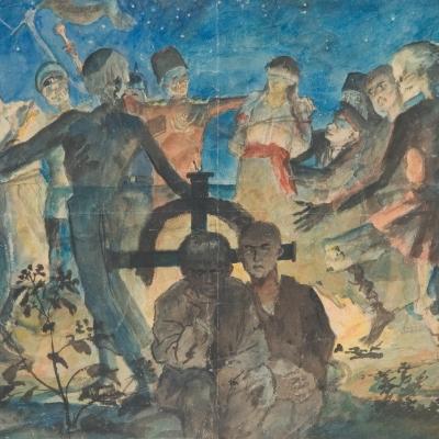 """Witold Wojtkiewicz, """"Zaduszki"""", niedatowany, z kolekcji Muzeum Sztuki w Łodzi: Grupa ludzi tańczy w nocy nad grobem, z którego bije światło. Za krzyżem chowa się dwóch chłopców."""
