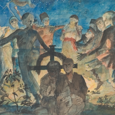"""Witold Wojtkiewicz, """"All Souls' Day"""", undated, from the collection of Muzeum Sztuki in Łódź: A group of people is dancing at night over a grave from which light is shining. Two boys are hiding behind the cross."""