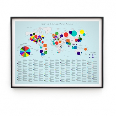 """Agnieszka Kurant, """"Risk Management"""", 2020, pigment print on archival paper, the work commissioned for the New York Times, collaboration: Krzysztof Pyda, courtesy of Tanya Bonakdar Gallery, New York / Los Angeles: The reproduction shows a map of the world with colored circles symbolizing, according to the map key,"""