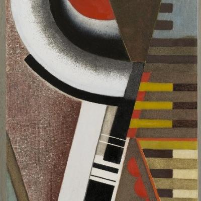 Karol Hiller, Deska ze spiralą (Kompozycja ze spiralą), 1928, olej, gips, lakier, metal, deska, 120 × 48 cm, Muzeum Sztuki, Łódź