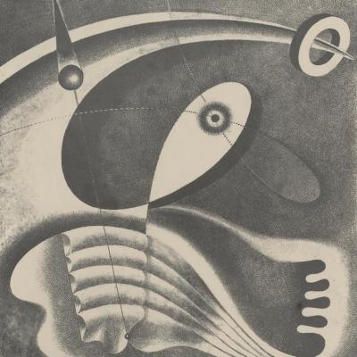 """Karol Hiller, """"Kompozycja heliograficzna (XLV)"""", 1939 r., heligrafika, z kolekcji Muzeum Sztuki w Łodzi : Heliografika przedstawiająca układ abstrakcyjnych form. Kompozycja z uwagi na technikę łączy elementy grafiki, fotografii oraz malarstwa."""