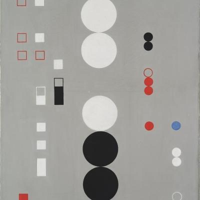 Sophie Taeuber-Arp, Kompozycja, 1930, olej, płótno, 52 × 42 cm, Muzeum Sztuki, Łódź