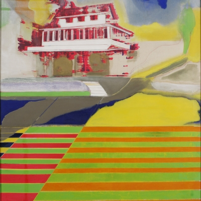 """Frank Bowling, """"Blazing Cane Field with Rum Shop"""", 1967, oil painting, collection of Muzeum Sztuki, Łódź: Above a colorfully-striped field, white-and-red house is on fire."""