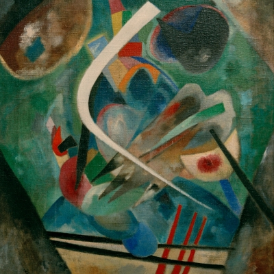 """Wassily Kandinsky, """"White line"""", 1920, oil on canvas, courtesy of Museum Ludwig, Köln: The background is dark-green. There are colorful, irregular shapes on it. In the middle, there is a curved, white line."""