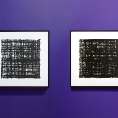 """Agnieszka Kurant, John Menick, """"Production Line"""", 2016—2017, ink plotter drawings on paper, courtesy of Tanya Bonakdar Gallery, New York / Los Angeles, photo: Sally Jubb Photography: The first of the two artworks shows irregular black lines that intersect and duplicate, creating an effect of density. The second artwork also presents irregular black lines but they are even more dense; it makes the painting practically black."""
