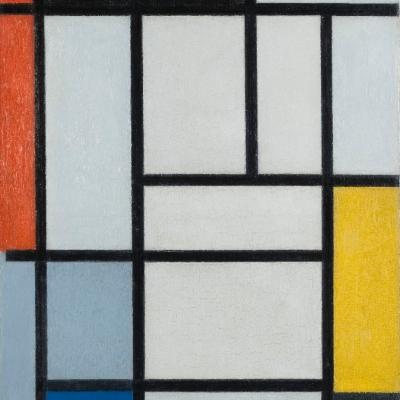 """Piet Mondrian, """"Kompozycja w czerwieni, czerni, żółci, niebieskim i szarym"""", 1921, olej na płótnie, dzięki uprzejmości Kunstmuseum Den Haag, Haga: Na obrazie znajdują się różnej wielkości prostokąty. Większość z nich jest koloru białego, jednak niektóre są innych kolorów: czarnego, niebieskiego, czerwonego i żółtego."""