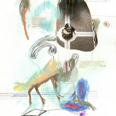 """Anne-Mie van Kerckhoven, """"Observations Saturniennes"""", 2008–2011, fotokolaż, rysunek, papier, z kolekcji Muzeum Sztuki w Łodzi: Pionowa, biała płaszczyzna. Na niej w centrum kompozycji kolorowe szkicowe linie i plamy barwne. W prawym górnym rogu obły wycinek zdjęcia. Gdzieniegdzie krótkie, odręczne opisy."""