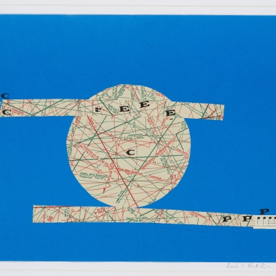 """Katalin Ladik, """"Sunset"""", 1975, collage, paper, collection of Muzeum Sztuki, Łódź: On a blue piece of paper, there are two white, covered in writings stripes glued to it. Between these stripes, a white, covered in writings circle glued on it."""