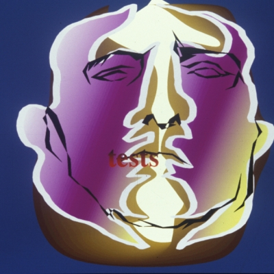 """Anne-Mie van Kerckoven, """"Maybe This Time I Win"""", 1989, film 16 mm, computer animation, courtesy of the artist: Horizontal picture. A dark blue background with a centrally located purple-yellow male face. Its outline is made of a light, hard line, and the simplified details are made of a dark line. There is a red word"""