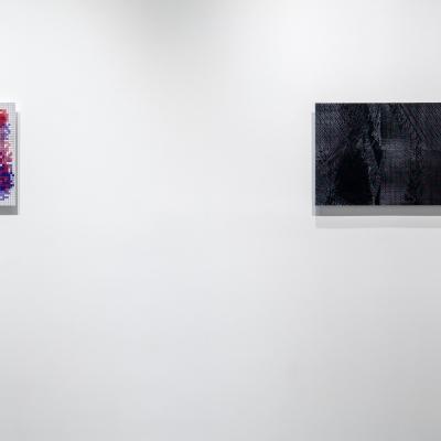 """Agnieszka Kurant, """"Sztuczne społeczeństwo (Model samosegregacji)"""", 2017, druk lentykularny, współpraca: Joanna Zielińska, dzięki uprzejmości Tanya Bonakdar Gallery, New York / Los Angeles; Agnieszka Kurant, """"Ewolucje"""", 2014, druk lentykularny, dzięki uprzejmości Tanya Bonakdar Gallery, New York / Los Angeles: Na białej ścianie wiszą dwa dzieła. Po lewej stronie jest mniejszy obraz, na którym znajdują się czerwone i fioletowe, nieregularne kształty. Obraz pokryty jest w całości drobną kratą. Po prawej stronie znajduje się większy obraz, na którym dominuje kolor czarny; znajdują się na nim delikatne, szare i białe przejaśnienia. Struktura pracy przypomina piksele."""