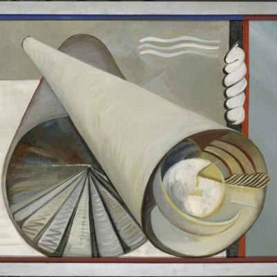 """Katherine S. Dreier, """"Dwa światy"""", 1930, olej na płótnie, dzięki uprzejmości Yale University Art Gallery, New Haven: Na obrazie dominują szarości. Dwie tuby nachodzą na siebie. Jedna z nich w większym otworze ma trójkąty, druga koło."""