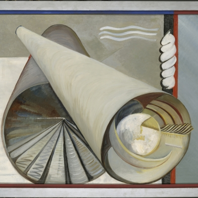 """Katherine S. Dreier, """"Zwei Welten"""" (""""Two Worlds""""), 1930, oil on canvas, courtesy of Yale University Art Gallery, New Haven: There are two grey tubes, placed on each other. Inside one of them, there are triangles which create a circle. Inside the second one, there is a smaller, white circle."""