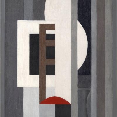 """Ragnhild Keyser, """"Kompozycja I"""", 1926, olej na płótnie, dzięki uprzejmości Yale University Art Gallery, New Haven: Na obrazie dominują szarości. Na środku znajduja się nieregularne, czarne, białe, brązowe i czerwone kształty."""