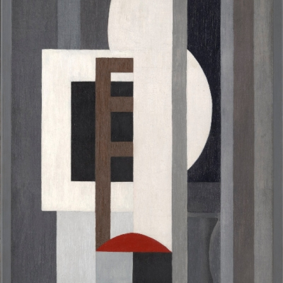 """Ragnhild Keyser, """"Composition I"""", 1926, oil on canvas, courtesy of Yale University Art Gallery, New Haven: The painting is mostly grey. In the middle, there are white, black, brown and red, irregular shapes."""