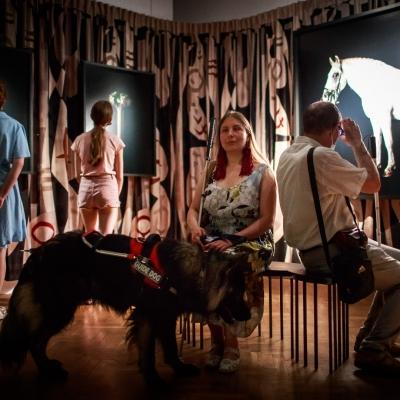fot. T. Ogrodowczyk: Publiczność (wiele osób) w przestrzeni wystawy prac Jasminy Cibic. Osoby na pierwszym planie siedzą na ławce, osoby na dalszym planie stoją. W centrum zdjęcia znajduje się kobieta z psem-przewodnikiem.