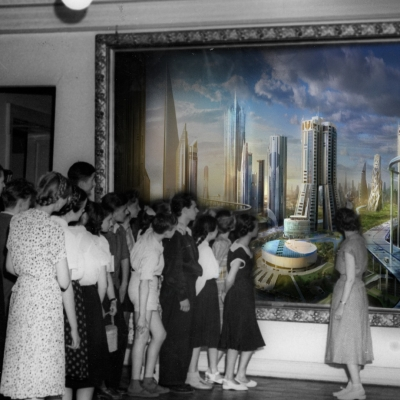 photo: members of the Art Enthusiasts' Club visit the Gallery of Polish Painting at Muzeum Sztuki in Łódź, photo montage