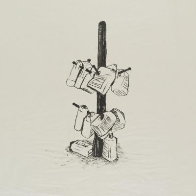 Tamás Kaszás, Column of the Commons (szkic do instalacji), rysunek tuszem, 2013, kolekcja Muzeum Sztuki w Łodzi