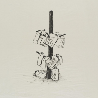 Tamás Kaszás, Column of the Commons (sketch for the installation), ink drawing, 2013, collection of Muzeum Sztuki in Łódź