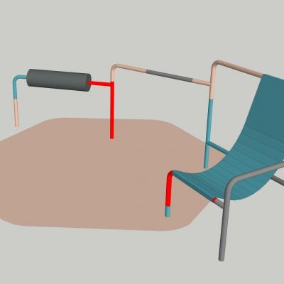 """Céline Condorelli, """"Spatial Composition 13"""", 2021, model 3D, dzięki uprzejmości artystki: Fotografia przestawia kompozycję przestrzenną. Zaprojektowana instalacja ukazuje bryłę wykonaną za pomocą Modelu 3D. Kolorystyka dominująca w formie zawiera się w czerwieni, beżu, szarości oraz pochodnych koloru niebieskiego."""