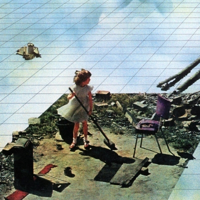 """Superstudio, """"Supersurface: An alternative model for life on the Earth"""", 1972, film, courtesy of Gian Piero Frassinelli: The horizontal plane of the picture. The blue, white and yellow stains create a pattern that imitates clouds on the tiles filling the picture. In the front-view shot of a girl in a white dress sweeping debris on a sharply cut off large part of the floor."""