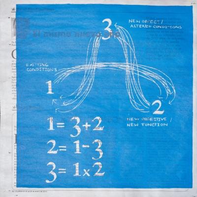"""Céline Condorelli, """"The Theory of Everything"""", 2015, widok instalacji, Tensta Konsthall (Stockholm), fot. Jean-Baptiste Beranger, dzięki uprzejmości artystki: Fotografia przedstawia prace sitodrukową wykonaną na podłożu z papierowej gazety. Niebieska plama nadrukowana na monochromatyczne litery tworzy silny kontrast."""