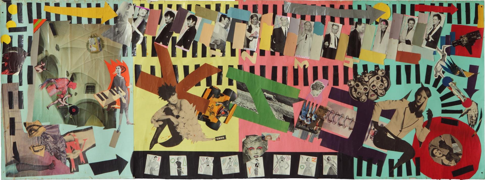 Jewgienij E-E Kozłow, KINO, technika mieszana, kolaż ze zdjęciami z sesji na potrzeby okładki albumu zespołu KINO Naczalnik Kamczatki (Operator kotłowni), 80 x 225 cm, 1985, kolekcja artysty