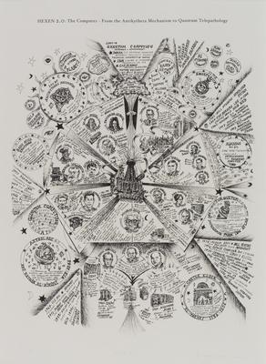 """Suzanne Treister, """"HEXEN 2.0/Diagramy/ Komputer – od mechanizmu Antikithiry do kwantowej telepatologii"""",  2009-2011, Muzeum sztuki w Łodzi"""