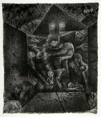 Henryk Morel, Kompozycja, z cyklu Lunapark, 1966,  tusz, płótno, Muzeum Sztuki w Łodzi