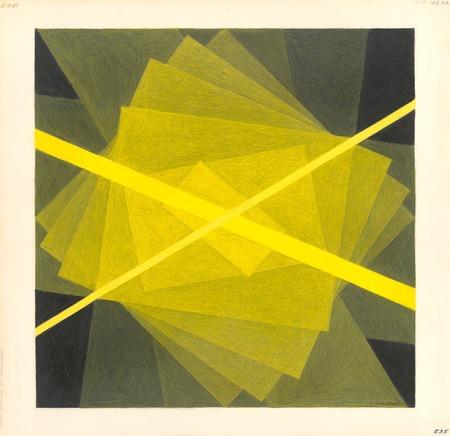 """Zanis Waldheims, """"Rysunek nr 535"""", rysunek kredkami na papierze, 1966, z kolekcji Łotewskiego Narodowego Muzeum Sztuki"""