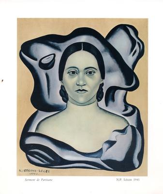 Reprodukcja obrazu Nadii Léger Autoportrait (Autoportret), 1941 na zaproszeniu z Muzeum Fernada Légera w Biot / Muzeum Literatury im. Adama Mickiewicza, Warszawa