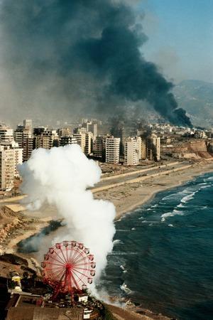 """Yan Morvan (b. 1954), """"Beyrouth Ouest ; de la série « La ligne verte » / West Beirut; from the « Green Line » series"""", 1982, colour photograph, 50 × 40 cm, collection of Antoine de Galbert, Paris, courtesy of the """"Sit Down"""" gallery"""