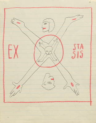 Sergei Eisenstein, drawings from the series: экстаз / Extasis, 10.03.1932, ink and coloured pencil on paper, Russian State Archive of Literature and Art, Moscow (RGALI)